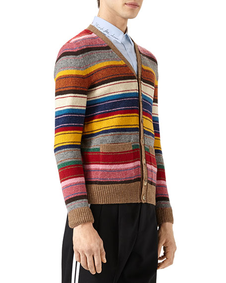 Striped Wool V-Neck Cardigan, Multicolor