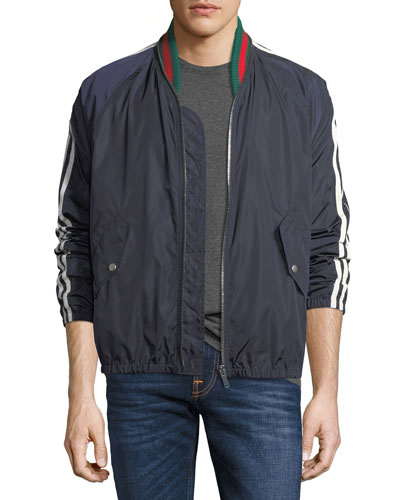 Nylon Bomber Jacket, Blue