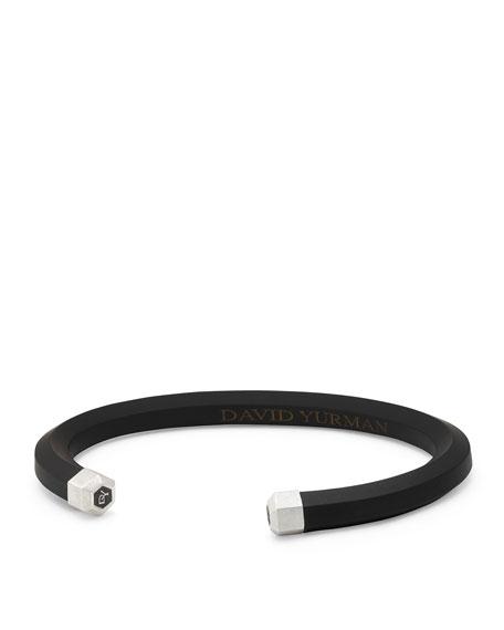 Men's Rubber & Sterling Silver Hex Cuff Bracelet, Black