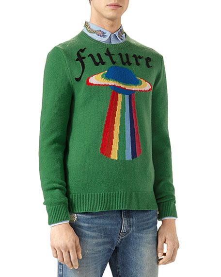 Gucci Future UFO Wool Crewneck Sweater, Green