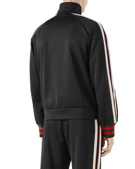 Technical Jersey Track Jacket, Black/White