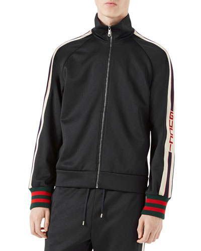 Technical Jersey Track Jacket, Black/White