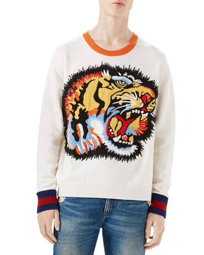 Oversize Tiger Intarsia Wool Sweater, White