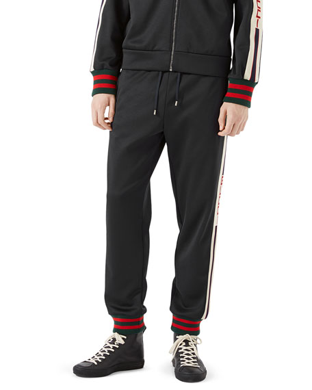 gucci retro technical jersey track pants bluewhite