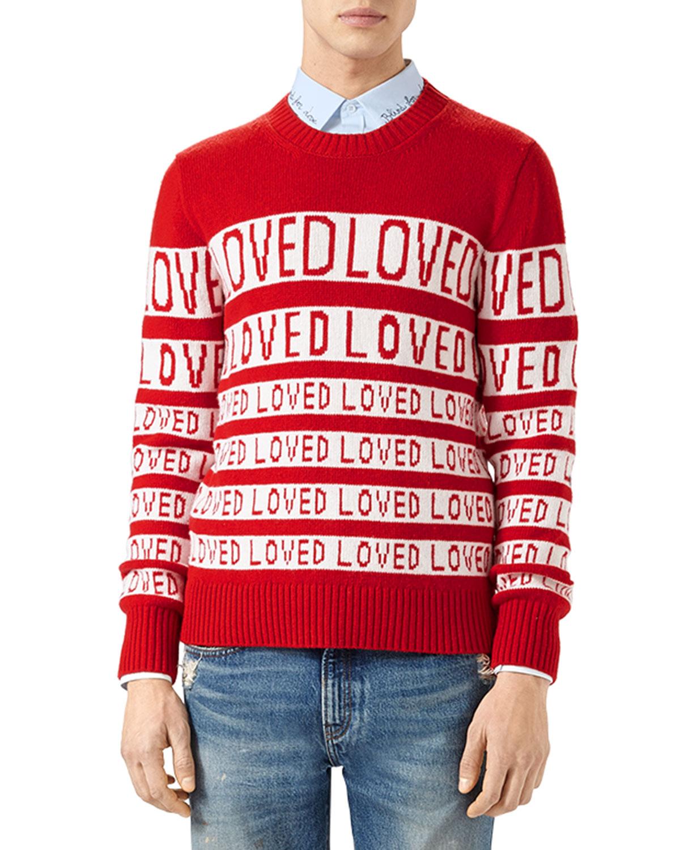 aebaec45 Gucci Wool Loved Jacquard Sweater   Neiman Marcus