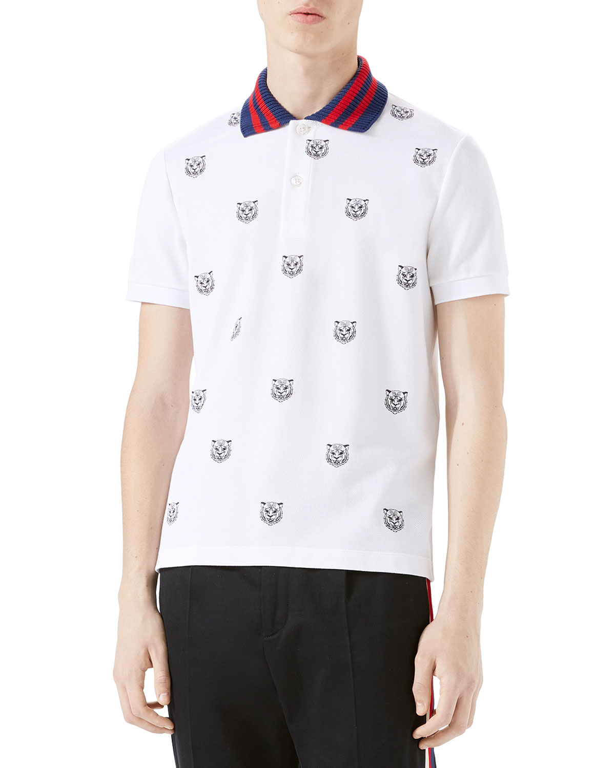 5b978bf47 Gucci Tiger Head Polo Shirt, White | Neiman Marcus