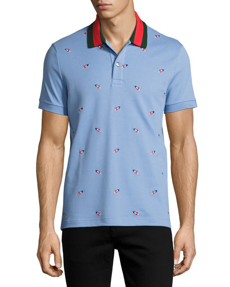 Gucci Cotton Pique Polo with Pierced Hearts