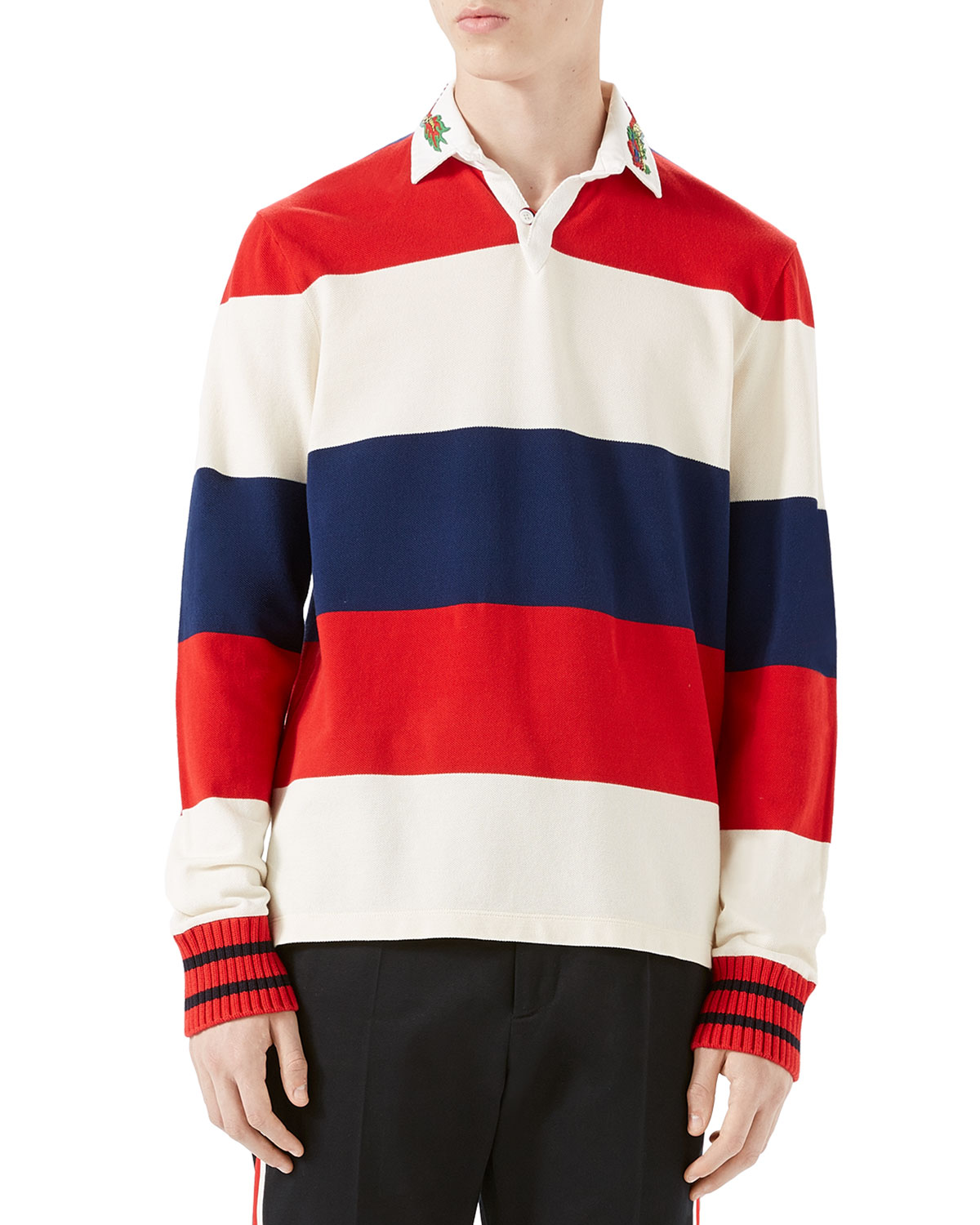 Gucci Striped Pique Rugby Shirt With Dragon Embroidery Neiman Marcus