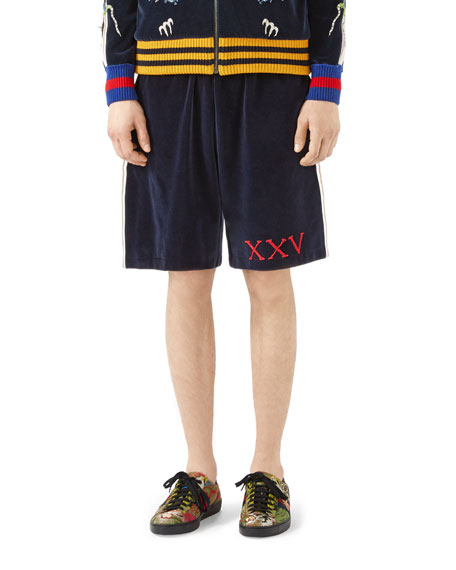 Velvet Jersey Shorts with Gothic Gucci Appliqué