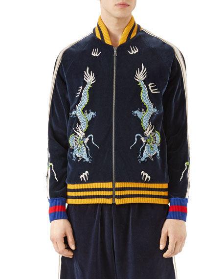 Gucci Embroidered Velvet Jersey Bomber Jacket, Blue