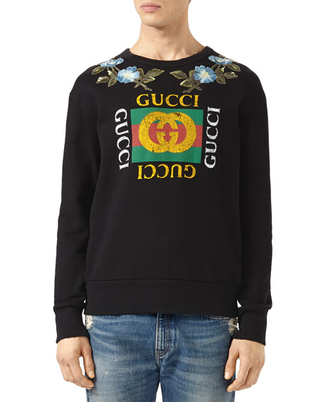 Gucci Cotton Sweatshirt with Gucci Print & Flowers ...