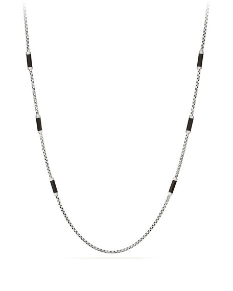 Men's Hex Chain Station Necklace, Black