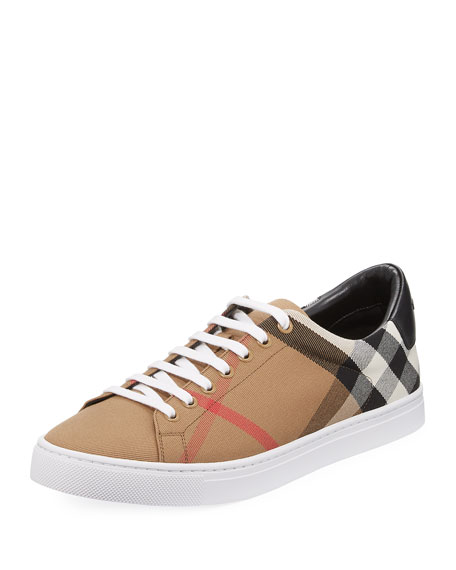 Burberry Albert House Check & Leather Low-Top Sneaker