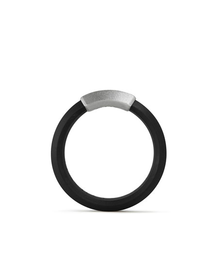 Men's Hex Band Ring in Black Rubber & Sterling Silver
