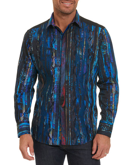 Limited Edition Kathleen's Blues Pleated Shirt, Multicolor