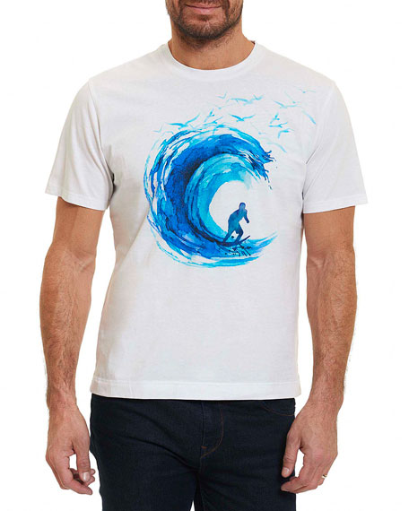 Robert Graham Break the Wave Graphic T-Shirt, White
