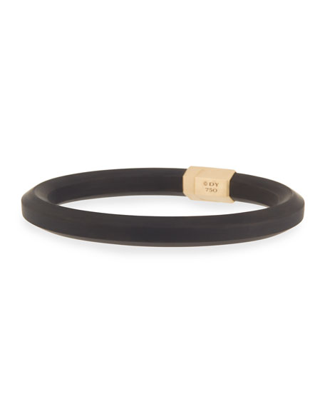 Men's Rubber & 18k Gold Hex Bracelet, Black