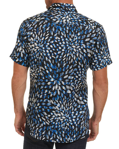 Pebble Beach Brushstroke Silk-Cotton Shirt, Navy