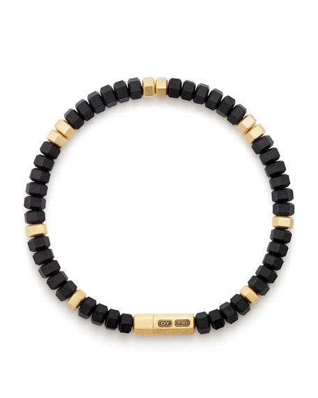 Men's Hex Bead Bracelet in 18K Gold & Black Rubber