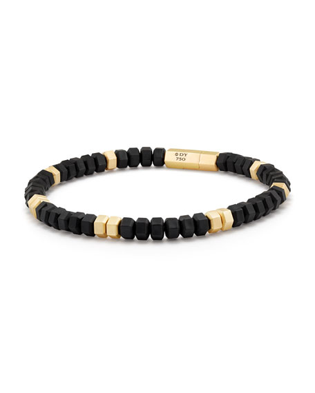 David Yurman Men S Hex Bead Bracelet In 18k Gold Black Rubber Neiman Marcus
