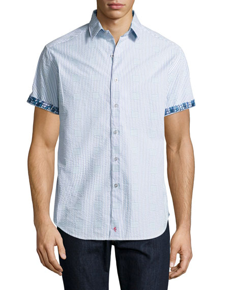 Robert Graham Lorence Seersucker Short-Sleeve Shirt, Light Blue