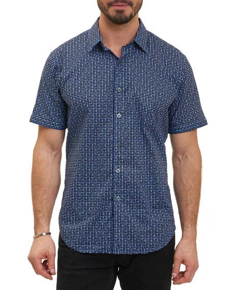 Robert Graham Gardena Geometric-Print Shirt, Blue