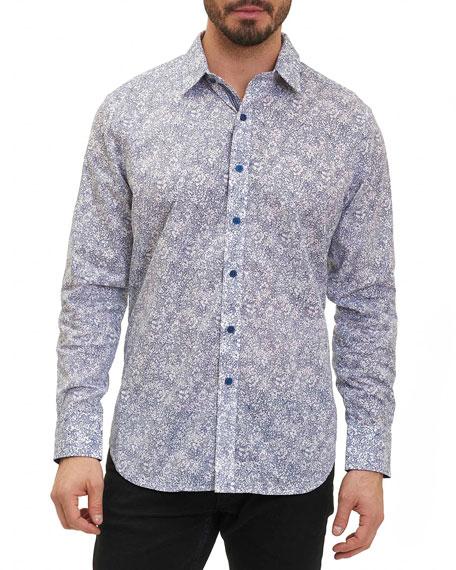 Robert Graham Moss Landing Micro-Floral Shirt, Indigo