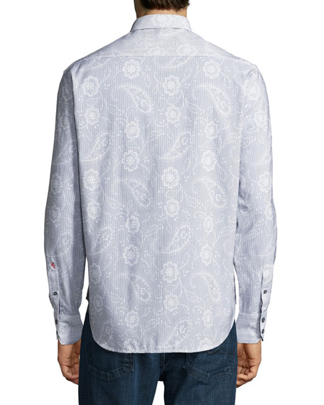 Klyde Paisley-Print Cotton Sport Shirt, White