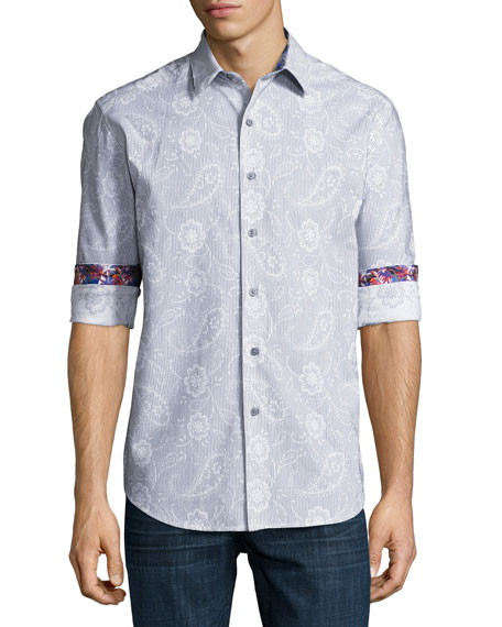 Robert Graham Klyde Paisley-Print Cotton Sport Shirt, White