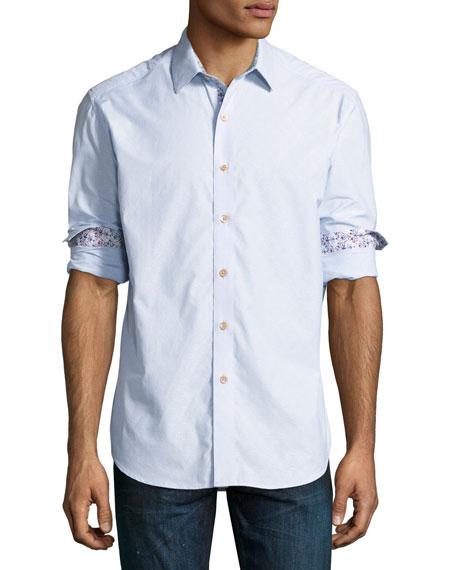 Swallow Jacquard Sport Shirt, Light Blue