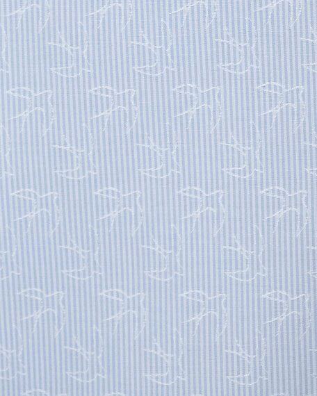 Swallow Jacquard Sport Shirt, Light Blue
