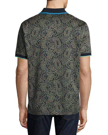 Kamden Pixelated Paisley Polo Shirt, Navy