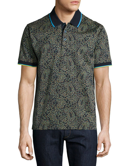 Robert Graham Kamden Pixelated Paisley Polo Shirt, Navy