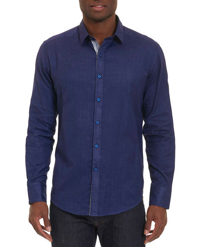 Amin Glen Plaid Cotton Shirt, Navy