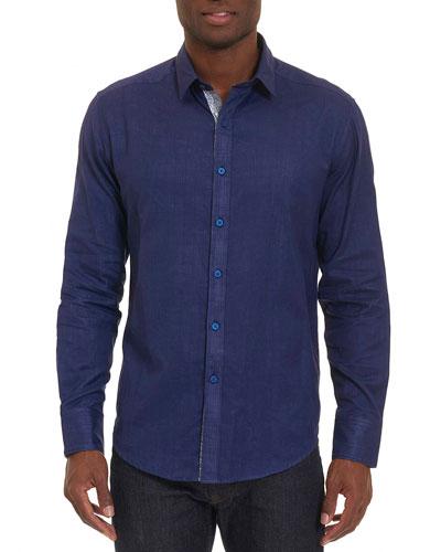 Amin Glen Plaid Cotton Shirt, Navy