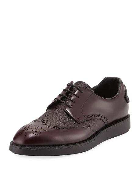 Prada Spazzolato Leather Brogue Sneaker, Brown