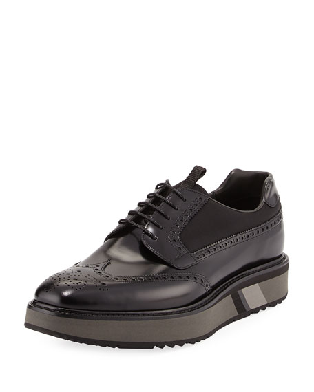 Prada Spazzolato Leather Platform Brogue Sneaker, Black