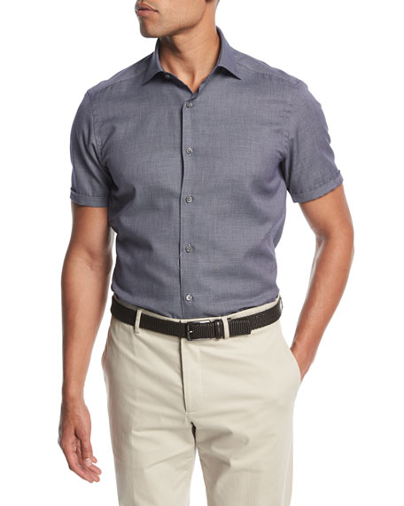 Ermenegildo Zegna Small-Dot Short-Sleeve Cotton Shirt