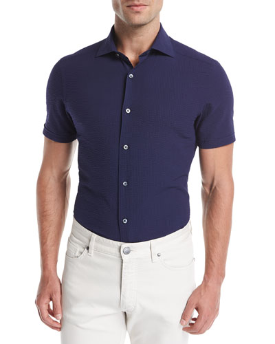 Seersucker Short-Sleeve Shirt