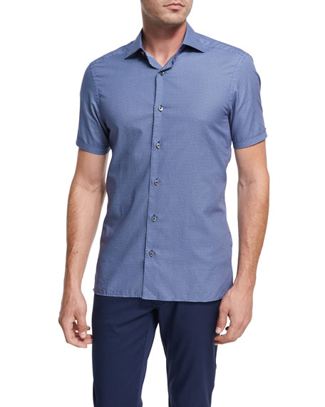 Ermenegildo Zegna Record-Print Short-Sleeve Cotton Shirt, Dark