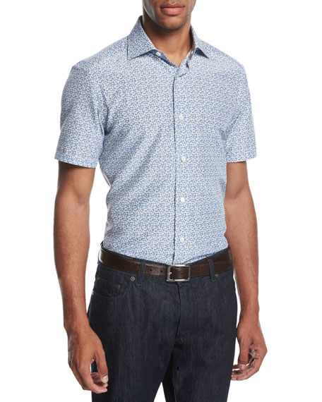 Ermenegildo Zegna Pixel-Print Cotton-Silk Short-Sleeve Shirt,