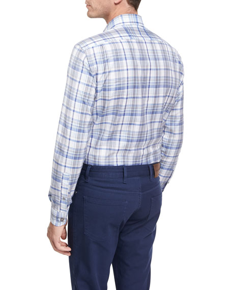 Oversize-Plaid Cotton Shirt, Blue