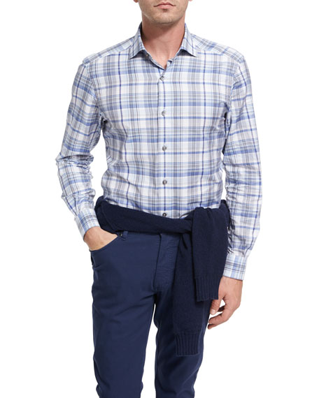 Ermenegildo Zegna Oversize-Plaid Cotton Shirt, Blue