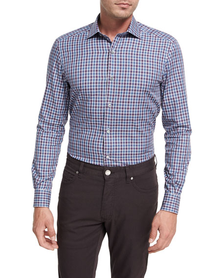 Ermenegildo Zegna Shadow Plaid Cotton Sport Shirt,