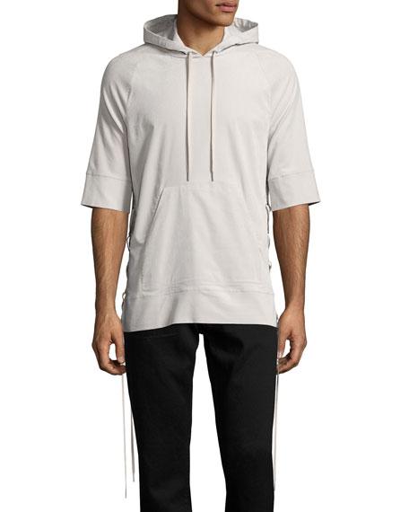 Helmut Lang Side-Lace 1/2-Sleeve Pullover Hoodie, Beige
