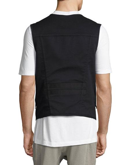 Zip-Front Utility Vest, Black