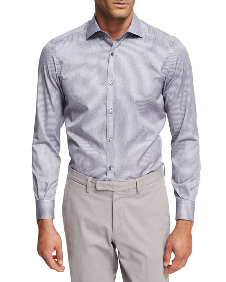 Ermenegildo Zegna Striped Melange Cotton Shirt, Medium Gray