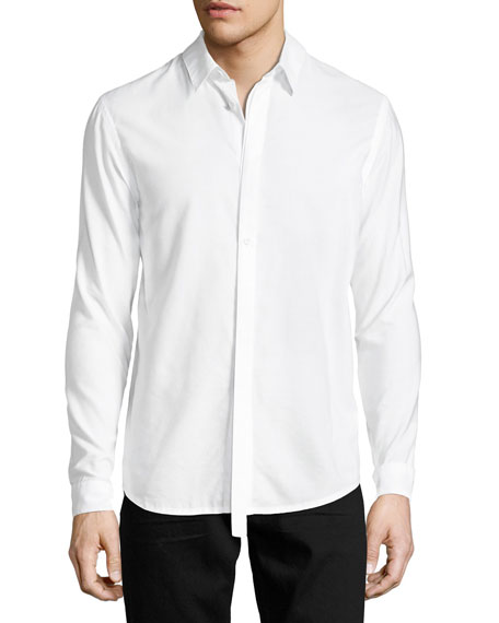 Helmut Lang Detached-Placket Micromodal-Cotton Shirt, White
