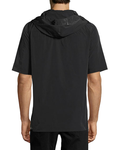Side-Zip Short-Sleeve Nylon Hoodie, Black