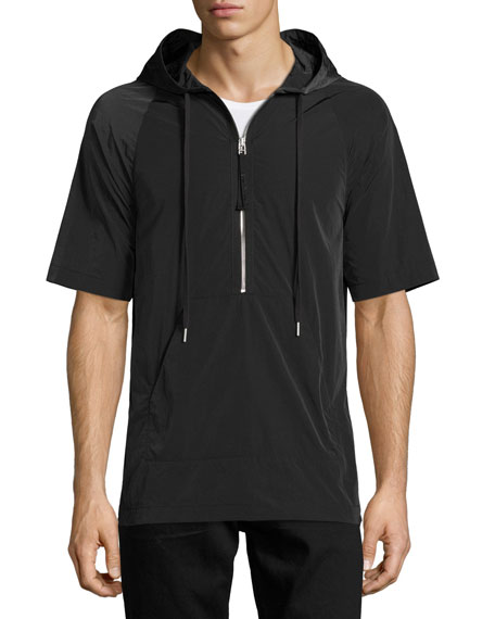 Helmut Lang Side-Zip Short-Sleeve Nylon Hoodie, Black